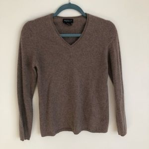 Lord & Taylor 100% Cashmere Tan V Neck Sweater